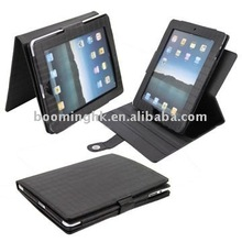 Folding Check Pattern PU Leather Case with Stand & Rotatable Design for iPad 2