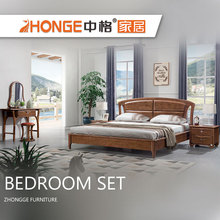 Japanese design modern simple style dark walnut color solid wood bed bed room set furniture