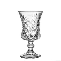 2016 New design clear embossed wine glass goblet