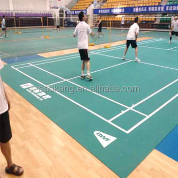 Global Exclusive Game Lines Embedded Badminton Court Mat with 1.8 mm Thickest Wear Layer
