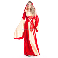 red Victorian Hofadel renaissance Medieval party Game Gown Cape Hoodie fancy dress cosplay Halloween women