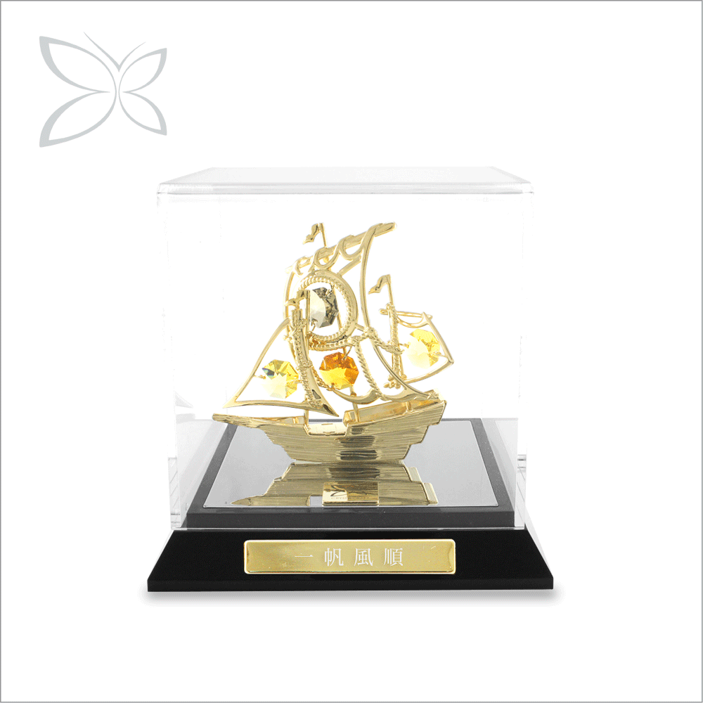 Innovation Unique Gold Plated Crystals Boats Home Decoration