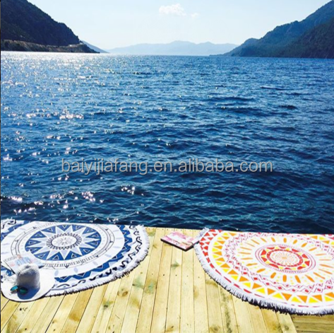 Custom Print All Kinds of Patterns with Beacutiful Color Circle Shape Beach Towels for Australia/Japan/Span Market