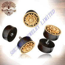 Tamarind Carved Shell Flower Coconut Wood Fake Earring Plug Threaded Piercing Body Jewelry Hottime New