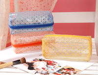 pvc cosmetic bag clear zipper promotional pvc toiletry folding travel Makeup cosmetic bag with zipper closure