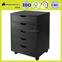 Cabinet for Closet/Office, 5 Drawers, Black
