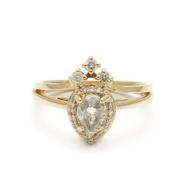 Shimmer curved indian moissanite bridal ring jewelry for women