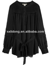 Latest women blouse fashion/2013 chiffon new long shirts designs