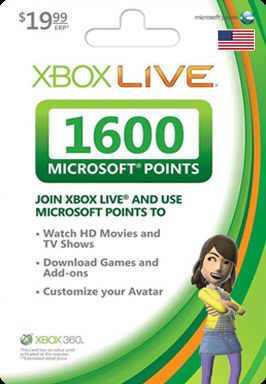 Xbox 360 Live 1600 Microsoft Points US wholesale Guaranteed GENUINE email delivery