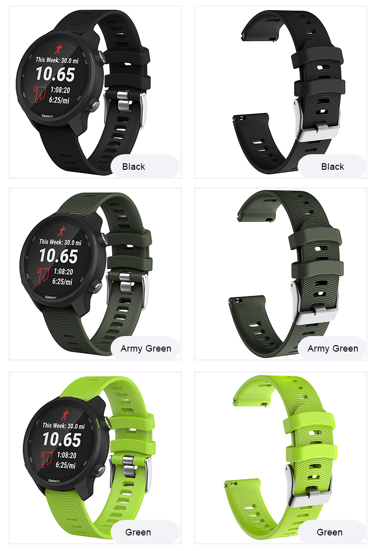 Tschick For Garmin Forerunner 645/245 Bands, 20mm Striped Natural Silicone Replacement Strap for Garmin Vivoactive 3/Vivomove HR