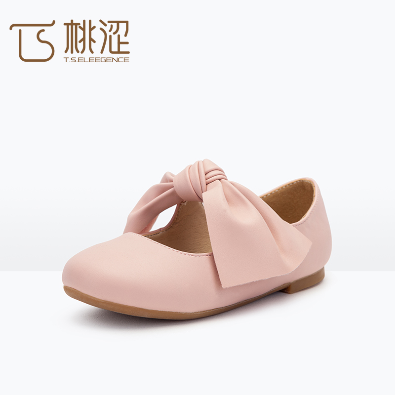 Childrens newest fashion big bow leather princess girls shoes
