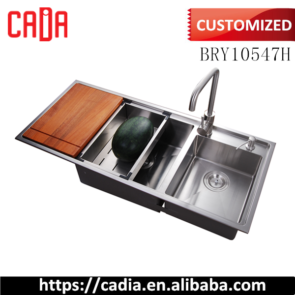 Kitchen stainless steel sink double bowl with drain board