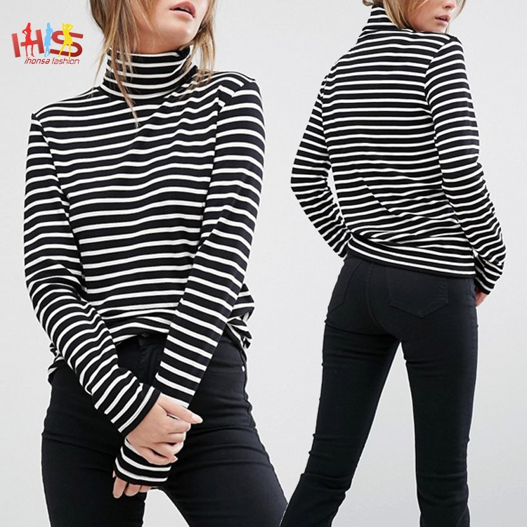 Ladies Roll Neck Stripe Top Images Long Sleeves Blusas Casuales HST7669