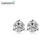 LUOTEEMI Wholesale 3 Prongs 1Single Round Clear AAA Cubic Zirconia Diamond Classic Stud Earrings