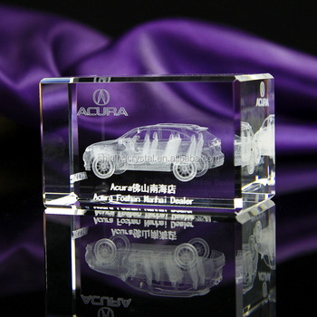 3d laser engrave crystal with car model for business gift
