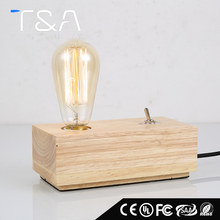 American style rectangle retro industrial vintage modern study wood table lamp