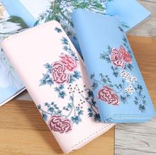 Zipper Vintage Floral Embroidered Lady Mother's Day Gift PU Leather Flower Wallet