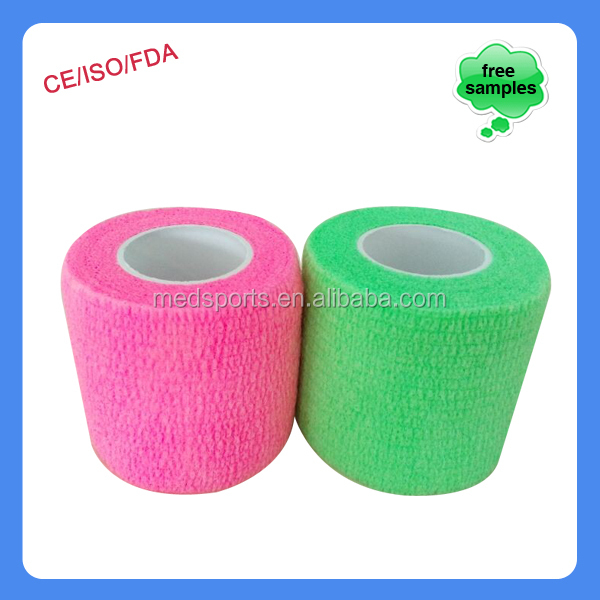 Hot Sale Hand Tearable Colorful Self sticky Elastic Bandages