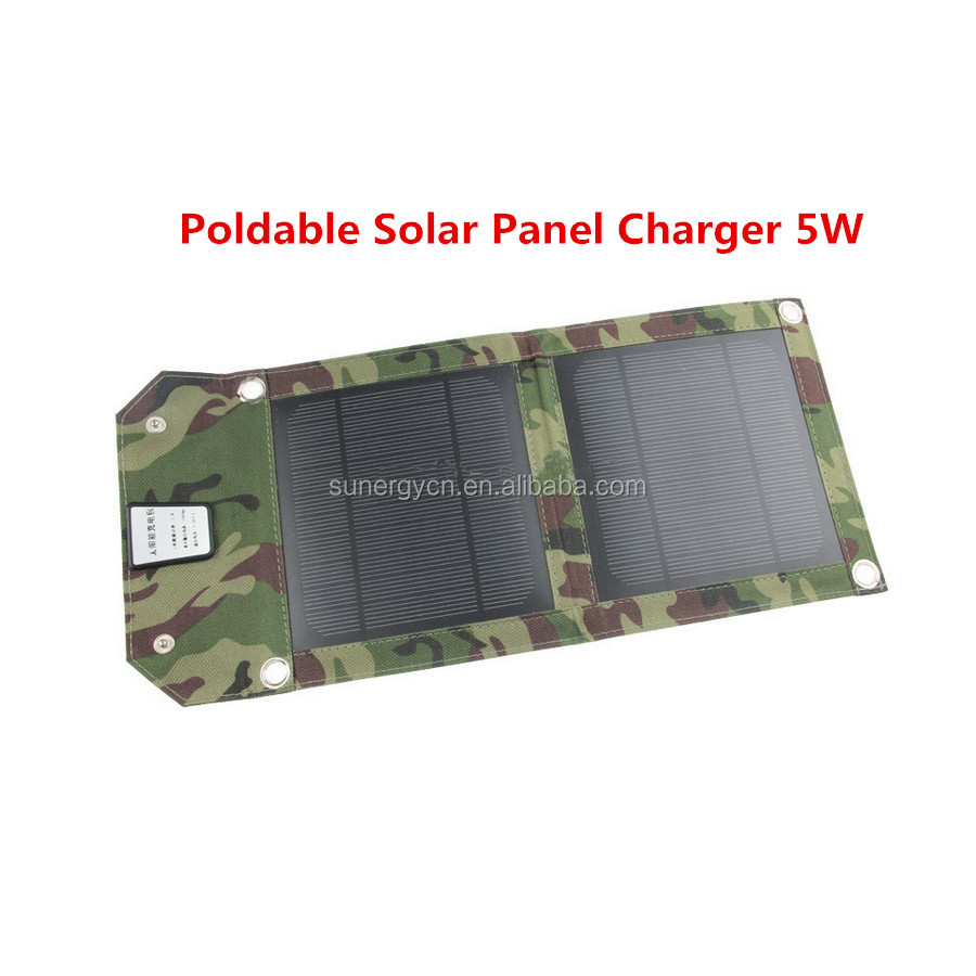 Portable Mono 5W panel Solar mobile phone charger with USB port