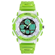 Child watch blue LED analog digital display sport watches waterproof for boy girls and kids