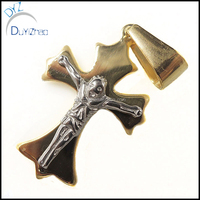 Mens Gold Plated Hip Hop Cross Stainless Steel Pendant