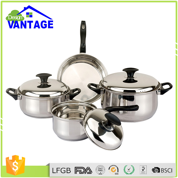 Houseware industrial cooking pot sizes cookware with bakelite mat and suction knob