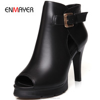 Fashionable high heel ankle boots for women Roman style sexy peep toe strap spring summer boots 2016 for lady leather boots