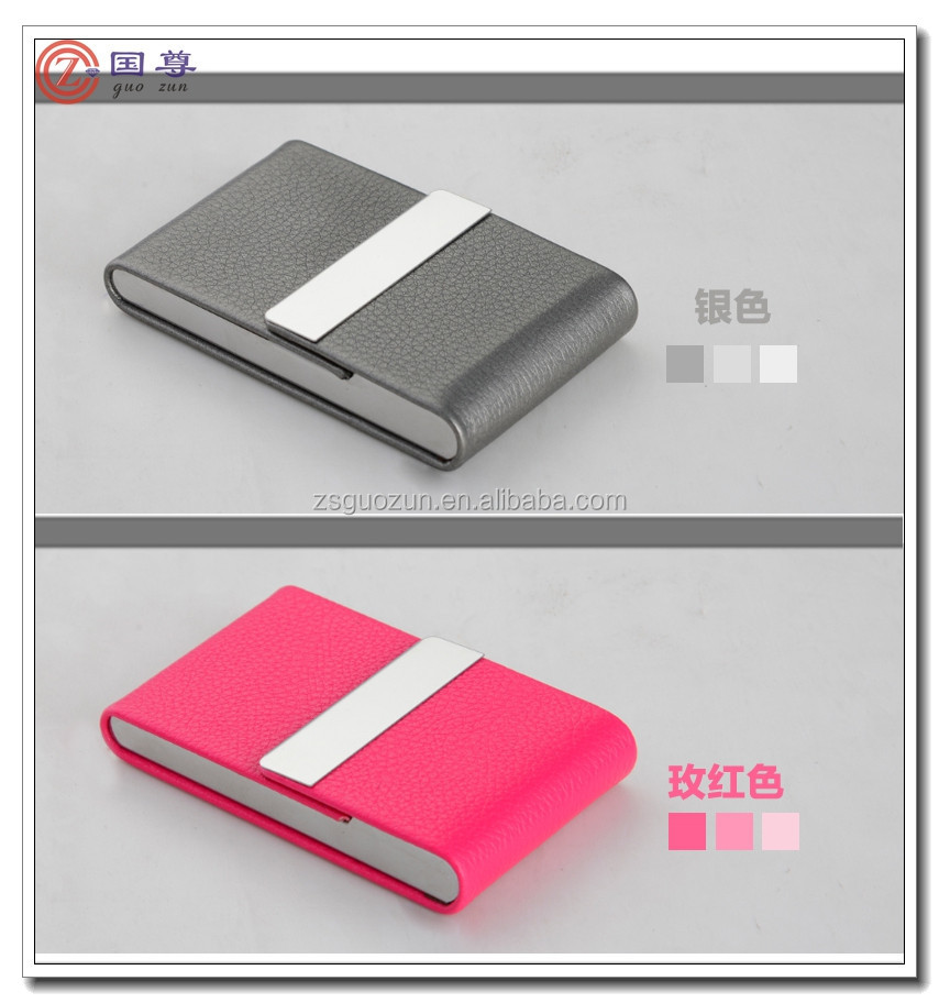 Hot Sale Magnetic Executive Gift Genuine Leather Name Card Holder/Business Card Case