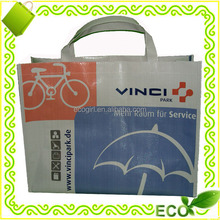 OEM logo CMYK gravure offset printing bopp laminated polypropylene woven eco-friendly shopping bag