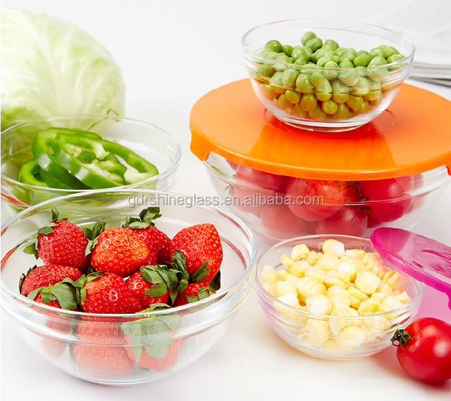 China supply Wholesale Borosilicate pyrex Round glass casserole, oven safe glass food container with plastic lid