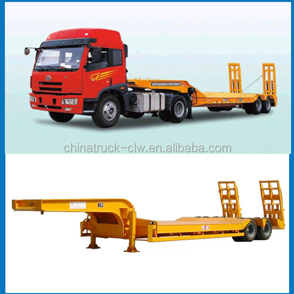 CLW 30 ton 2 Axles or 3 Axles Low Bed Truck Trailer Lowboy Flatbed Gooseneck Semi Trailers For Sale