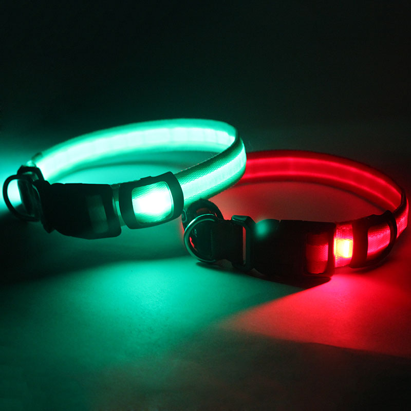Custom logo personalized diy pet accessories rechargeable led glow in the dark dog collar