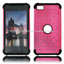 Glossy Hybrid Hard Diamond Quilted Bling Back Dual Case cover for Blackberry BB Z10 Pink