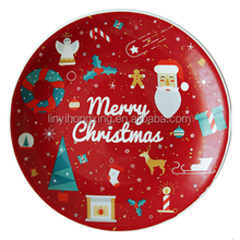 cheap christmas decorate plate for promotion porcelain christmas cake plate