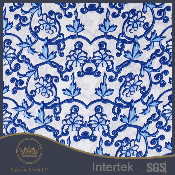 New style china blue strech silk satin printed fabric for dress