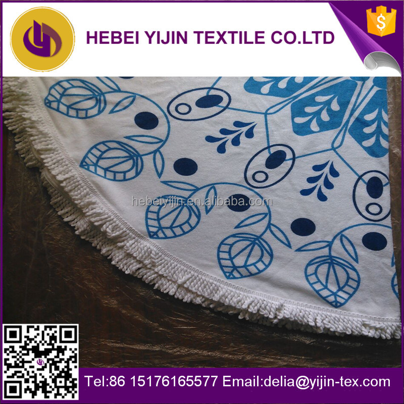 Alibaba China hot sale custom printed 100% <strong>cotton</strong> round beach towels