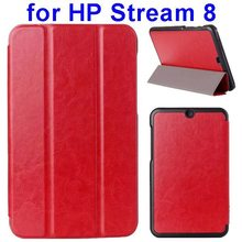 Crazy Horse Texture 3 Folding Flip Leather Case for HP Stream 8 Tablet Case