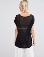 Guangzhou OEM Black Plain Chiffon Insert T-Shirt Sexy Sheer V Back Scoop Neck T Shirt