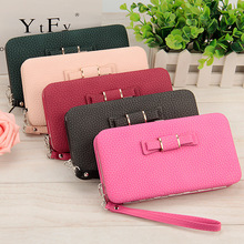 Baellerry Pencil Mobile Wallet Leater Purse Bowknot Decor Long Wallets China Manufacturer Wholesale Mobile Wallet