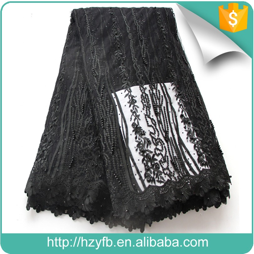 Special embroidered tulle fabric/black beaded french lace/luxury african tulle lace for dress