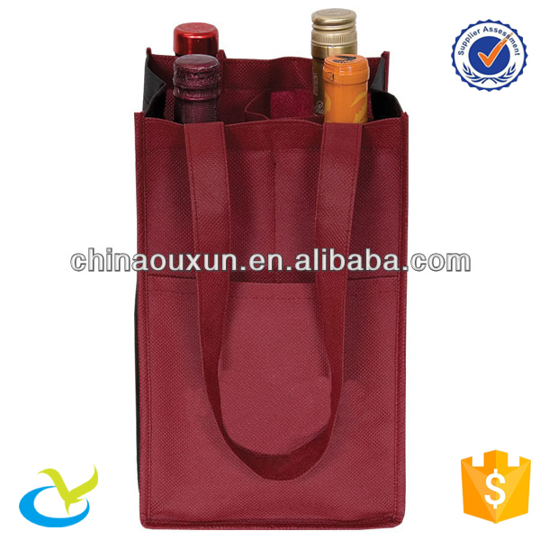 Durable in use liquor reusable 4 bottle wine non woven pack tote shopping bag