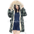 CX-G-P-08D 2016 Hot Sale Wholesale Winter Coat Real Rabbit Fur Lining Fox Fur Collar Parka For Women
