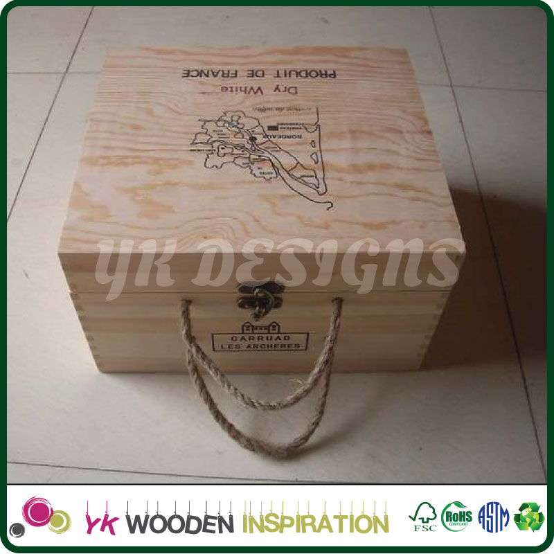 Custom size shape logo Wooden wine crates