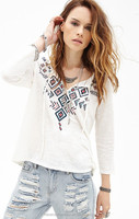spring summer 2015 Indian tribes printed draw string half-opened render female T-shirt