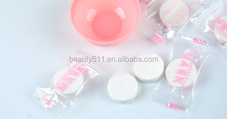 Wholesale 8pcs Disposable 100%Cotton Candy Compressed mask with bowl Mask paper DIY