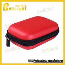 Red PU Cover Hard EVA Zipper Hard Disk Travel Case
