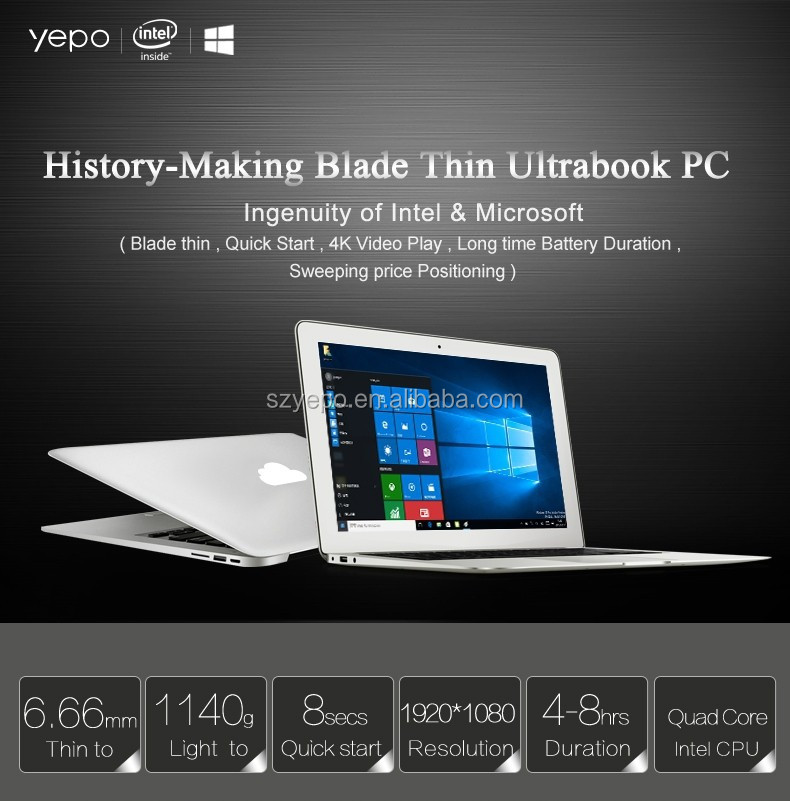 Ultra Slim 13.3 inch Notebook 2GB 32GB 2017 best selling intel laptop Quad Core Processor wholesale used laptop