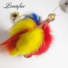 Cute Rabbit Pompom Ball Fur Keychain With High Quality