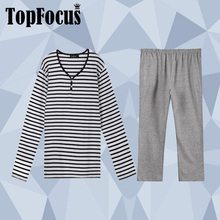 100 Cotton Stripes Two Pieces Unisex Leisure Lounge Home Casual Wear