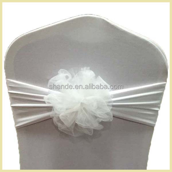 Colorful Organza Flower Spandex Chair Band Sash for Brithday Party Sweet Wedding